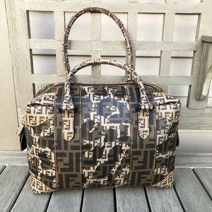 Fendi Rare Camo Mixed Media Hand Bag